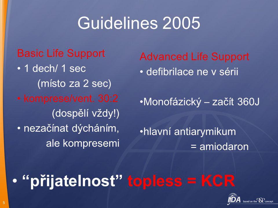 5 Guidelines 2005 Basic Life Support 1 dech/ 1 sec (místo za 2 sec) komprese/vent.