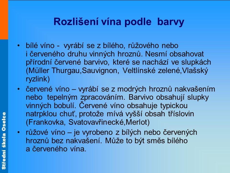 Rozlišení vína podle barvy bílé víno - vyrábí se z bílého, růžového nebo i červeného druhu vinných hroznů. Nesmí obsahovat přírodní červené barvivo, k