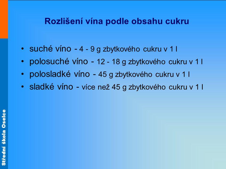 Rozlišení vína podle obsahu cukru suché víno - 4 - 9 g zbytkového cukru v 1 l polosuché víno - 12 - 18 g zbytkového cukru v 1 l polosladké víno - 45 g