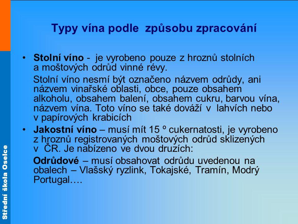 Typy vína podle způsobu zpracování Stolní víno - je vyrobeno pouze z hroznů stolních a moštových odrůd vinné révy. Stolní víno nesmí být označeno názv