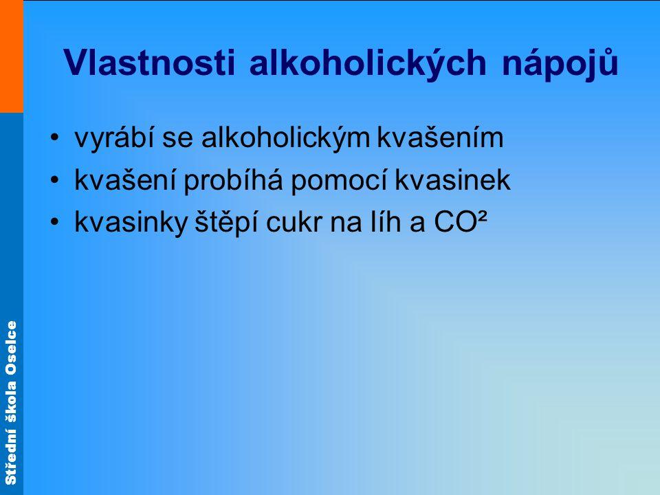 Vlastnosti alkoholických nápojů vyrábí se alkoholickým kvašením kvašení probíhá pomocí kvasinek kvasinky štěpí cukr na líh a CO²