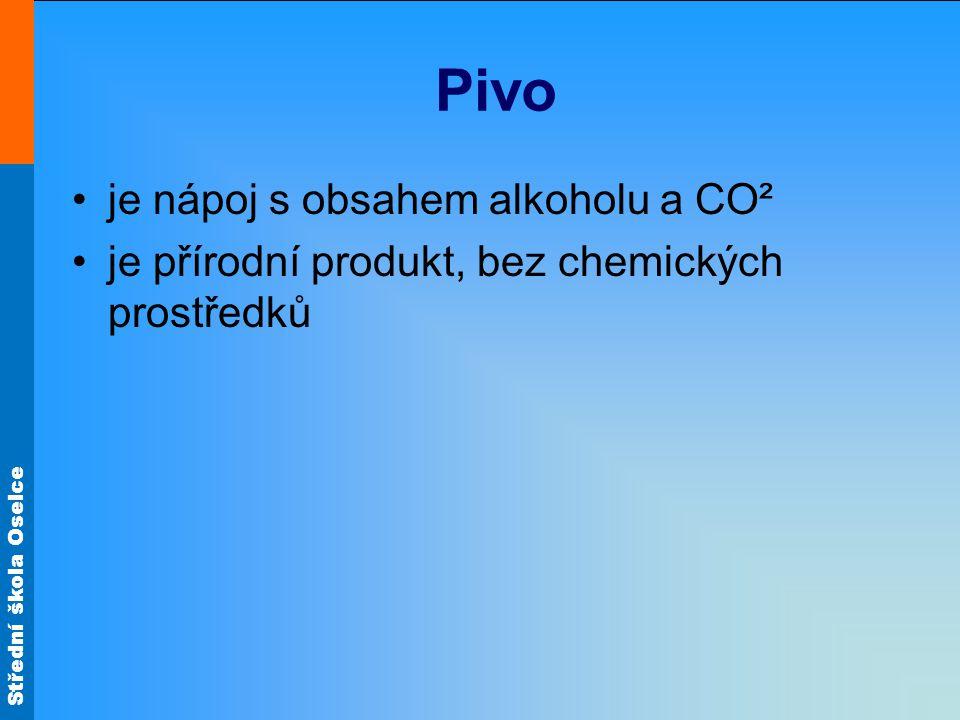 Pivo je nápoj s obsahem alkoholu a CO² je přírodní produkt, bez chemických prostředků