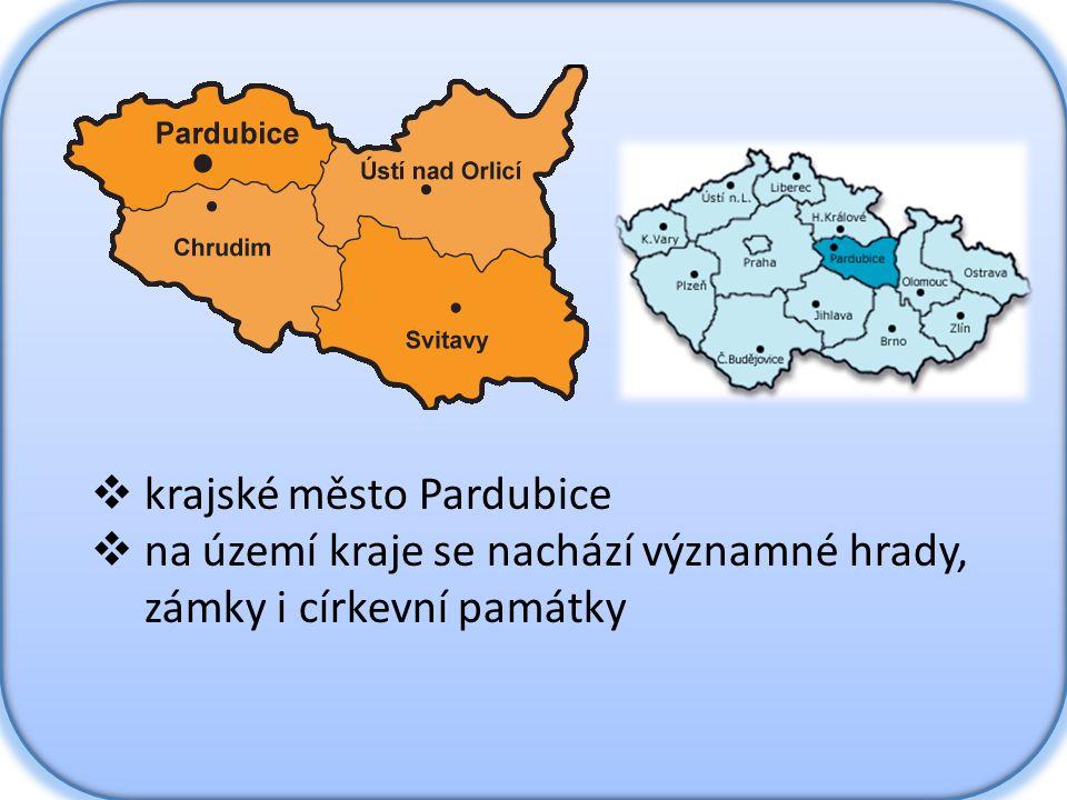  krajské město Pardubice  na území kraje se nachází významné hrady, zámky i církevní památky