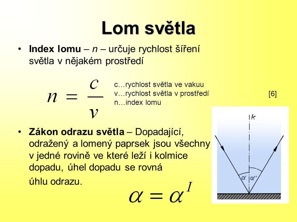 Zákon lomu světla n2,1 = v1/v2 Při přechodu z opticky řidšího do opticky hustšího prostředí (n2,1>1) dochází k lomu světla ke kolmici s rovinou rozhraní.