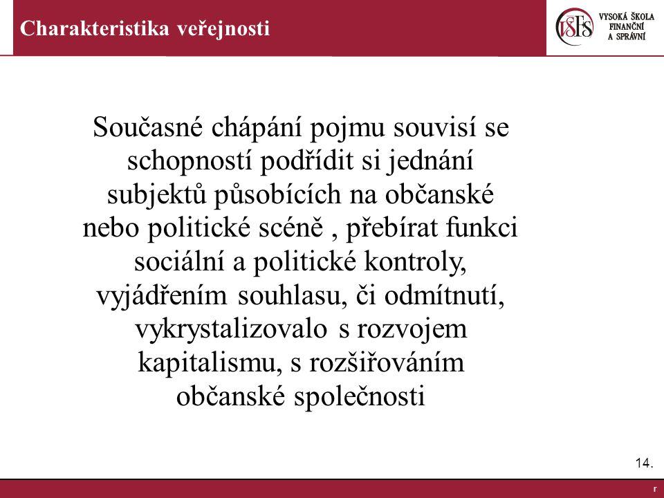 15.r Charakteristika veřejnosti Veřejnost z pohledu sociologických škol F.