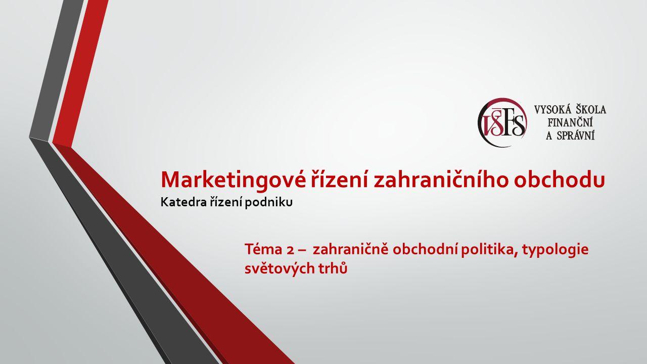 Marketingové řízení zahraničního obchodu Katedra řízení podniku Téma 2 – zahraničně obchodní politika, typologie světových trhů