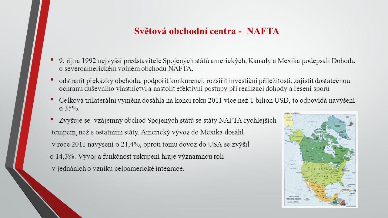 Světová obchodní centra - NAFTA 9. října 1992 nejvyšší představitele Spojených států amerických, Kanady a Mexika podepsali Dohodu o severoamerickém vo