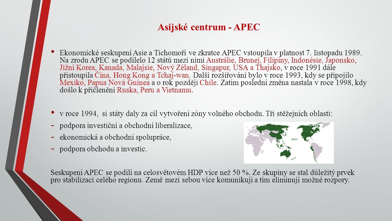 Asijské centrum - APEC Ekonomické seskupení Asie a Tichomoří ve zkratce APEC vstoupila v platnost 7. listopadu 1989. Na zrodu APEC se podílelo 12 stát