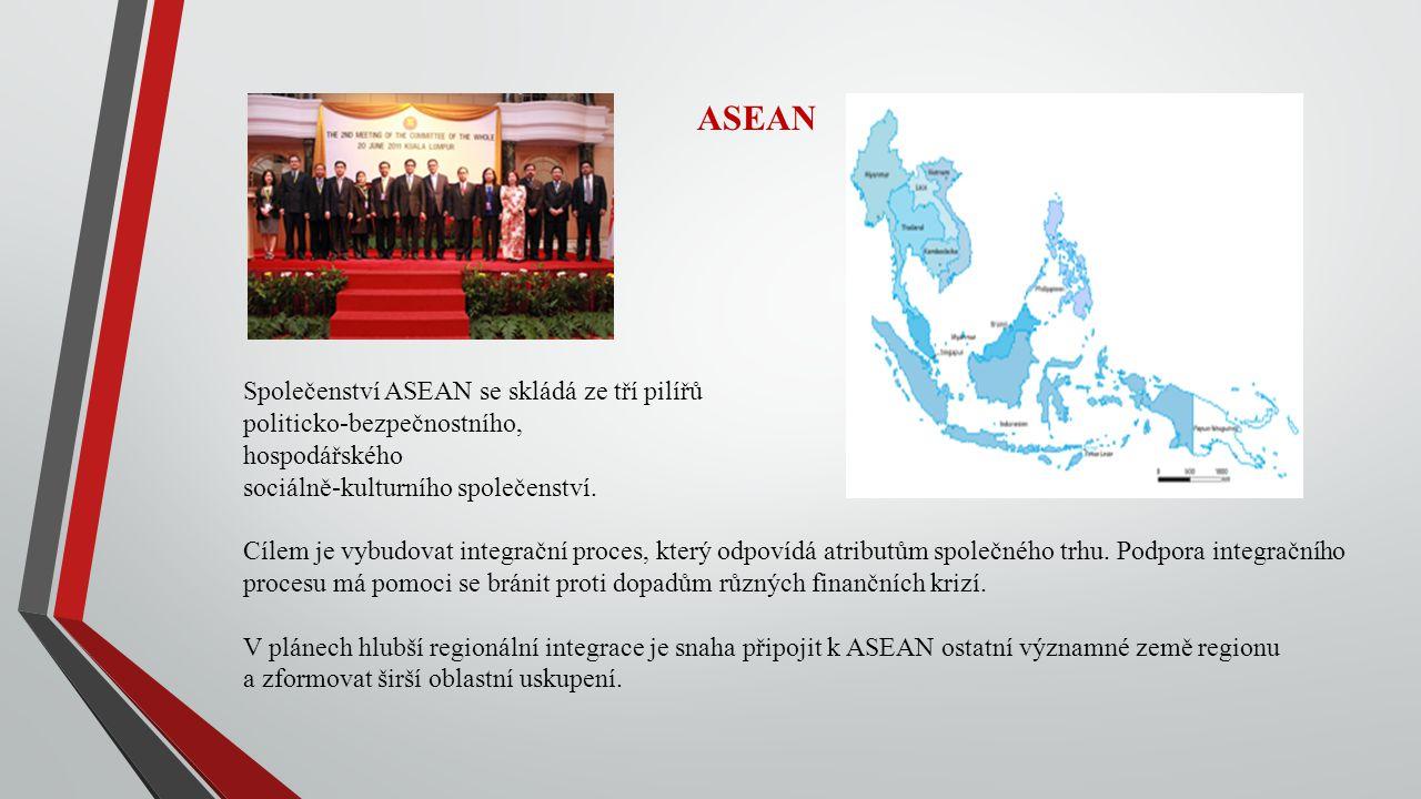 ASEAN Společenství ASEAN se skládá ze tří pilířů politicko-bezpečnostního, hospodářského sociálně-kulturního společenství. Cílem je vybudovat integrač