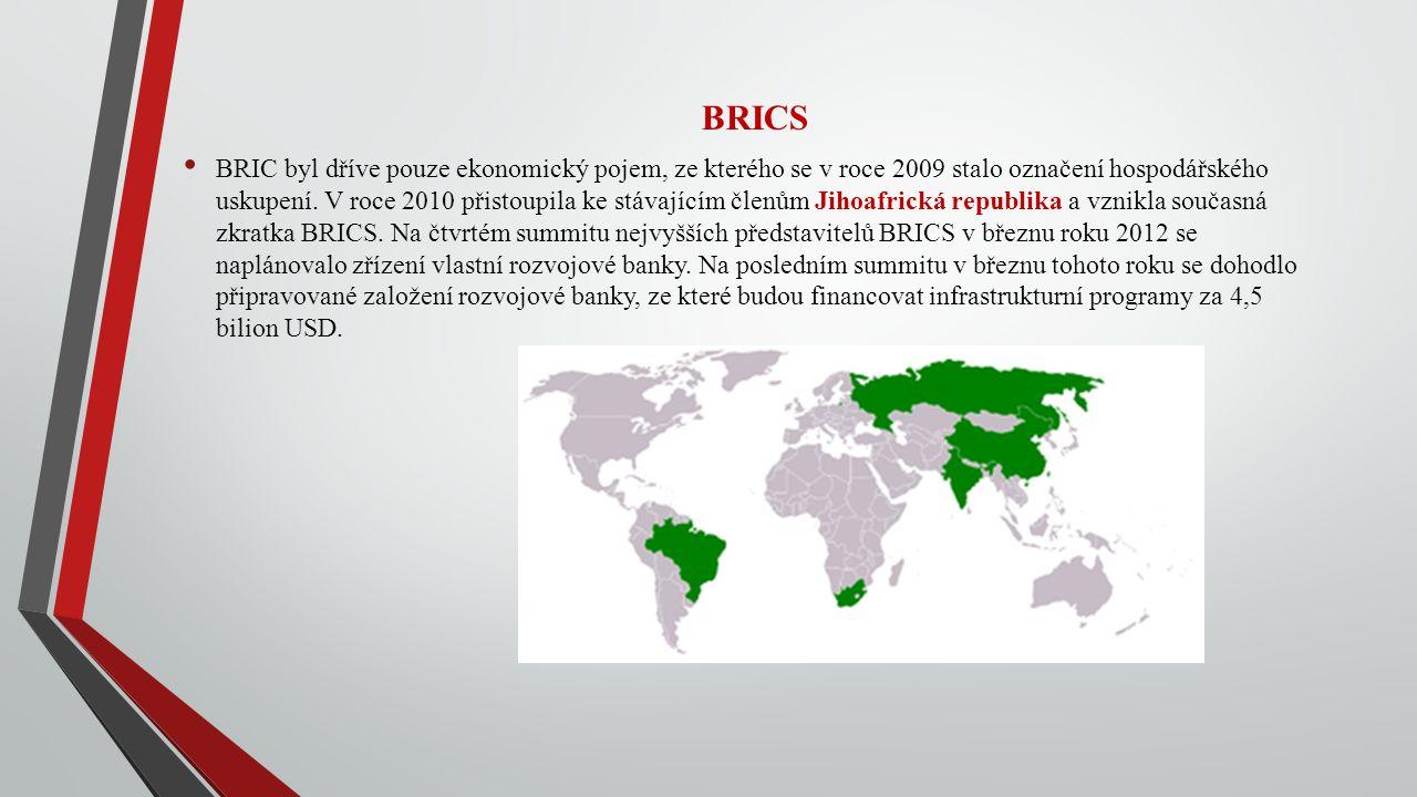 BRICS BRIC byl dříve pouze ekonomický pojem, ze kterého se v roce 2009 stalo označení hospodářského uskupení. V roce 2010 přistoupila ke stávajícím čl