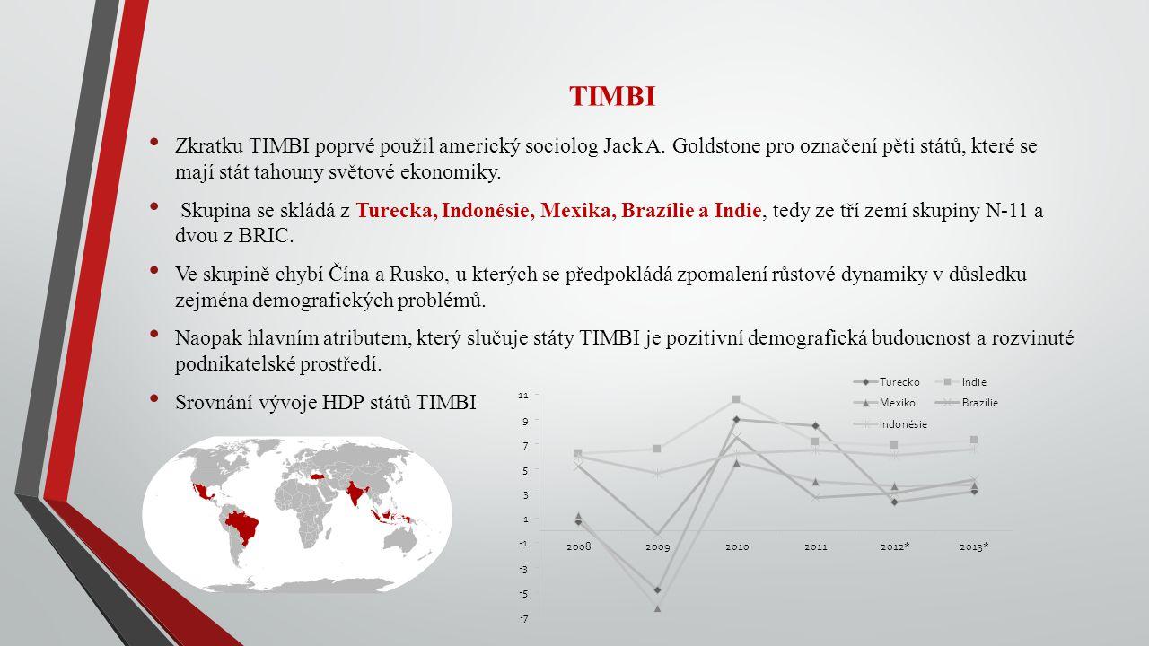 TIMBI Zkratku TIMBI poprvé použil americký sociolog Jack A. Goldstone pro označení pěti států, které se mají stát tahouny světové ekonomiky. Skupina s