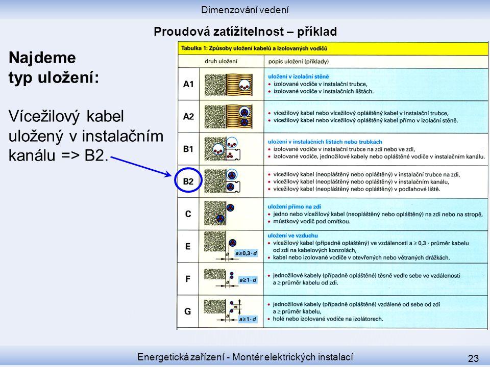 Dimenzování vedení Energetická zařízení - Montér elektrických instalací 23 Najdeme typ uložení: Vícežilový kabel uložený v instalačním kanálu => B2.