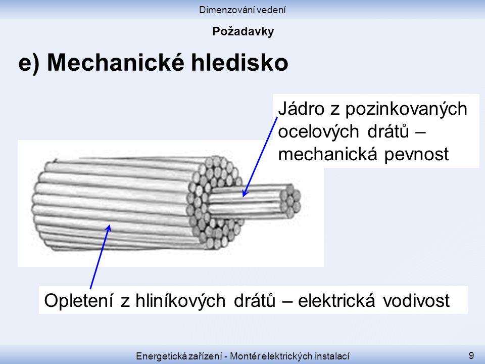 Dimenzování vedení Energetická zařízení - Montér elektrických instalací 9 e) Mechanické hledisko Jádro z pozinkovaných ocelových drátů – mechanická pe