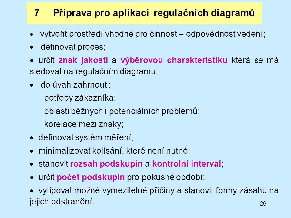 26 7 Příprava pro aplikaci regulačních diagramů  vytvořit prostředí vhodné pro činnost – odpovědnost vedení;  definovat proces;  určit znak jakosti a výběrovou charakteristiku která se má sledovat na regulačním diagramu;  do úvah zahrnout : potřeby zákazníka; oblasti běžných i potenciálních problémů; korelace mezi znaky;  definovat systém měření;  minimalizovat kolísání, které není nutné;  stanovit rozsah podskupin a kontrolní interval;  určit počet podskupin pro pokusné období;  vytipovat možné vymezitelné příčiny a stanovit formy zásahů na jejich odstranění.