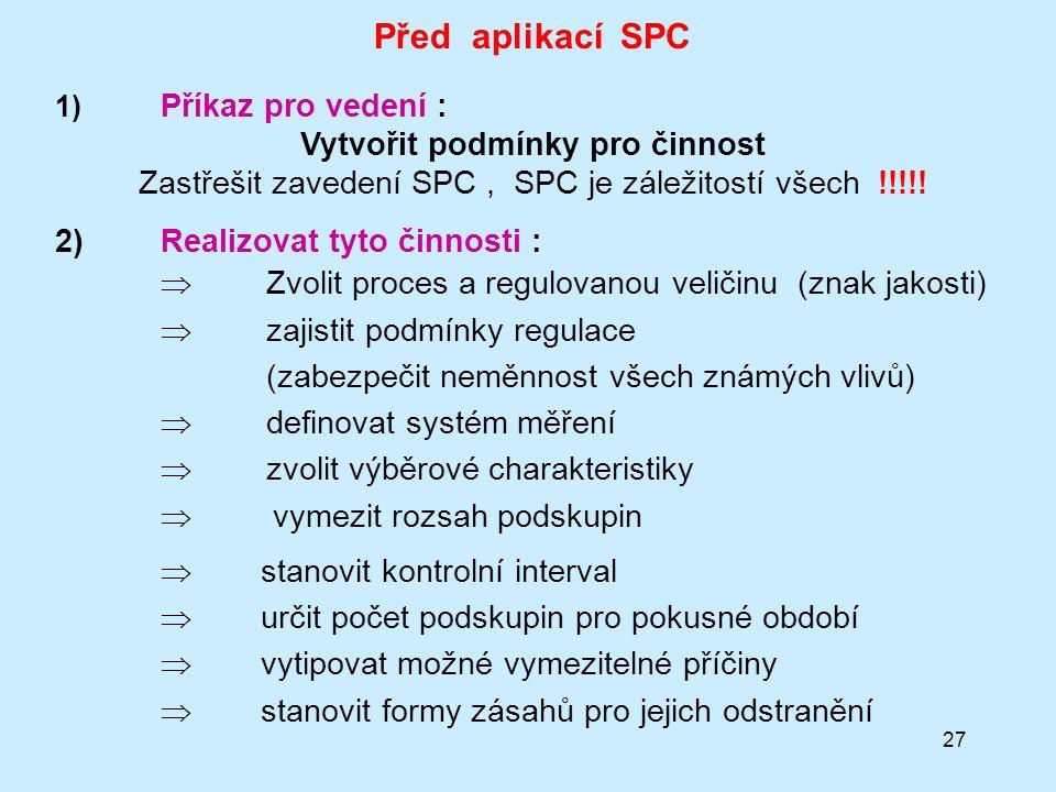 27 Před aplikací SPC 1) Příkaz pro vedení : Vytvořit podmínky pro činnost Zastřešit zavedení SPC, SPC je záležitostí všech !!!!.