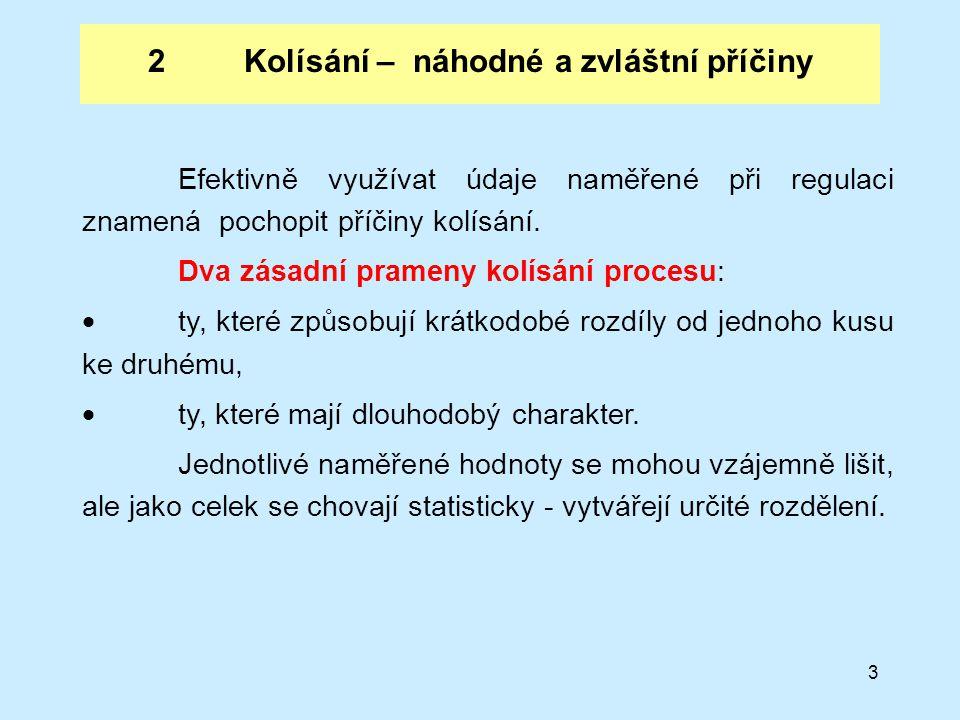 3 2Kolísání – náhodné a zvláštní příčiny Efektivně využívat údaje naměřené při regulaci znamená pochopit příčiny kolísání.
