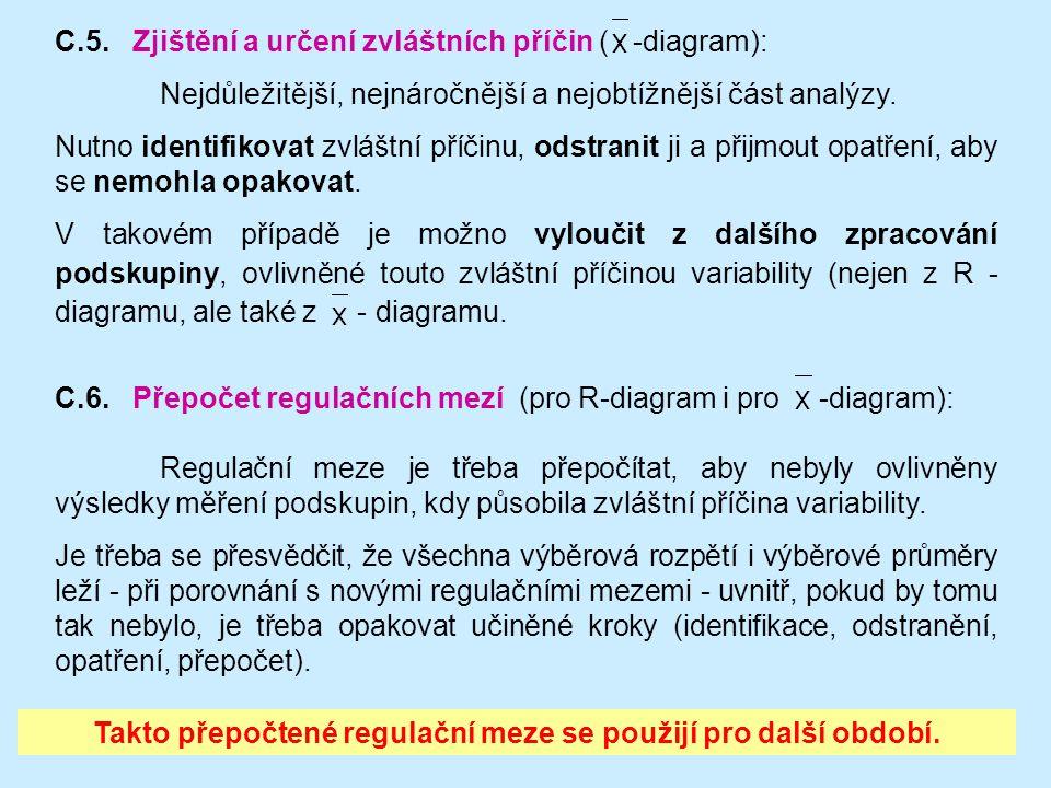 68 Regulační meze je třeba přepočítat, aby nebyly ovlivněny výsledky měření podskupin, kdy působila zvláštní příčina variability. Je třeba se přesvědč