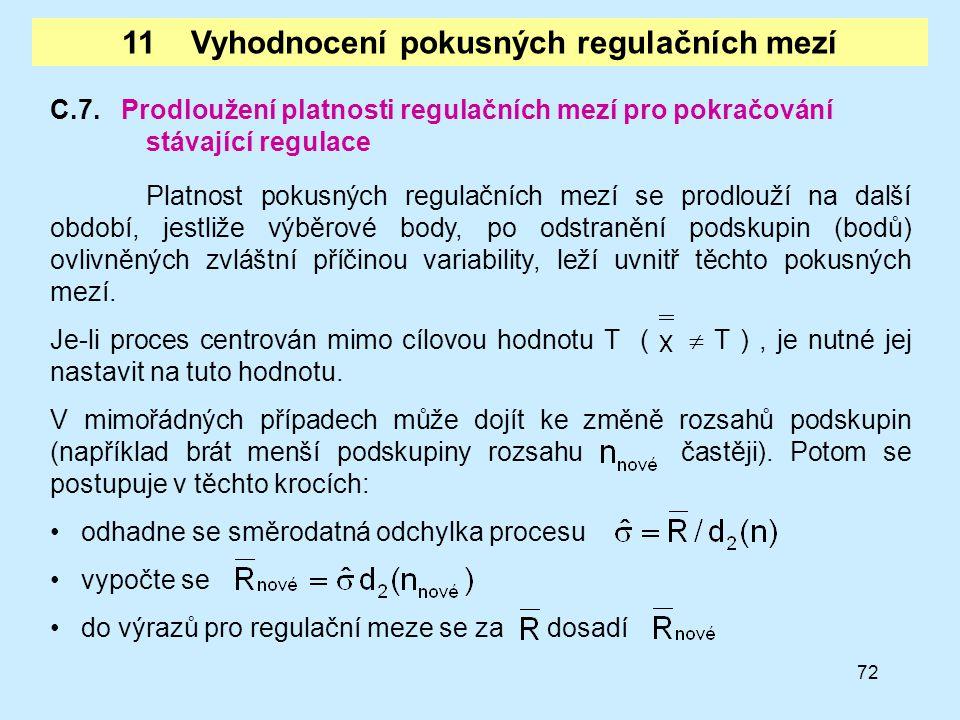 72 C.7. Prodloužení platnosti regulačních mezí pro pokračování stávající regulace Platnost pokusných regulačních mezí se prodlouží na další období, je