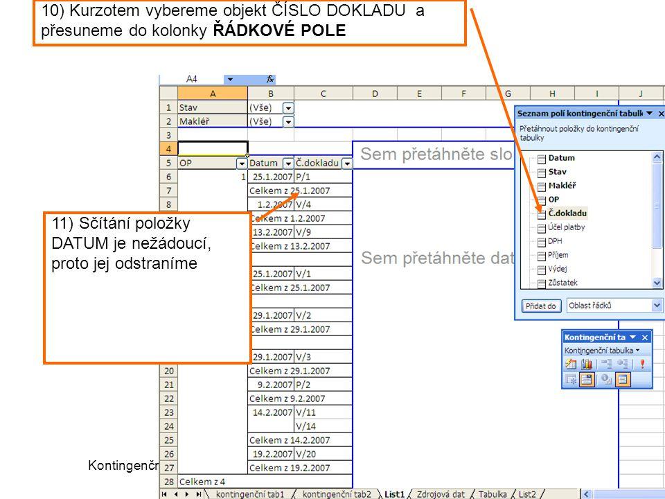 Kontingenční tabulka (c) Ludmila Fridrichová 200811 10) Kurzotem vybereme objekt ČÍSLO DOKLADU a přesuneme do kolonky ŘÁDKOVÉ POLE 11) Sčítání položky