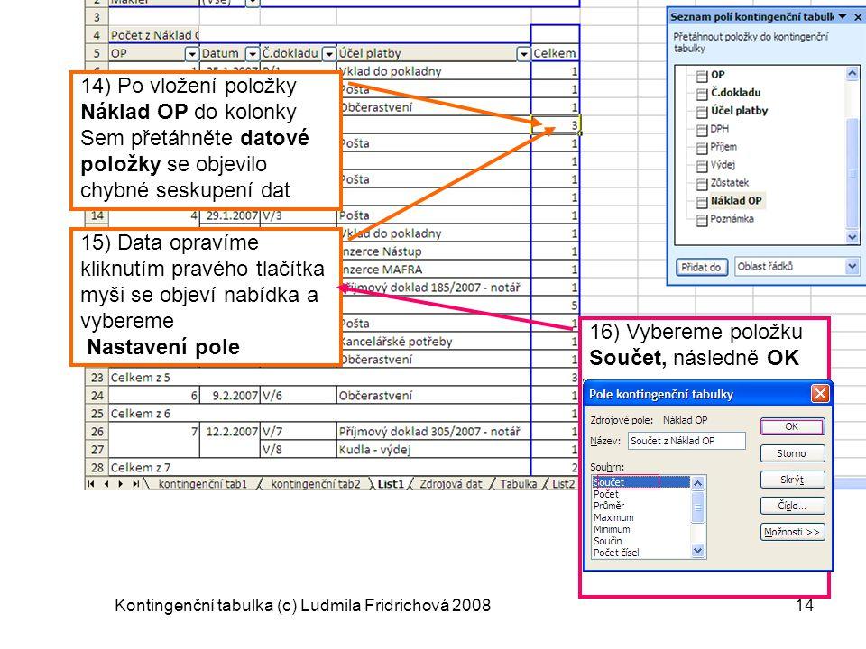 Kontingenční tabulka (c) Ludmila Fridrichová 200814 14) Po vložení položky Náklad OP do kolonky Sem přetáhněte datové položky se objevilo chybné sesku