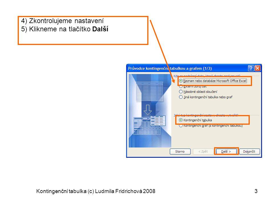 Kontingenční tabulka (c) Ludmila Fridrichová 20083 4) Zkontrolujeme nastavení 5) Klikneme na tlačítko Další