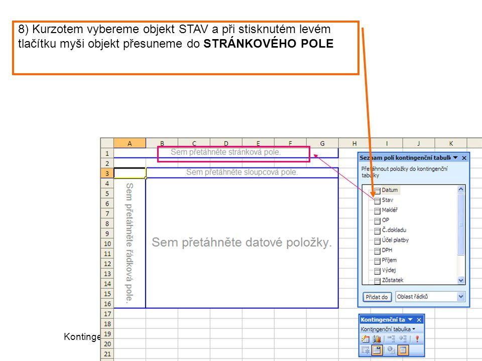 Kontingenční tabulka (c) Ludmila Fridrichová 20086 8) Kurzotem vybereme objekt STAV a při stisknutém levém tlačítku myši objekt přesuneme do STRÁNKOVÉ