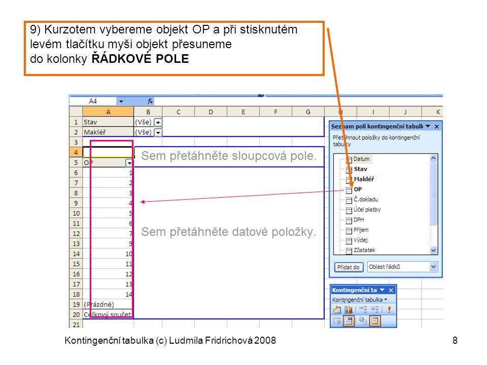 Kontingenční tabulka (c) Ludmila Fridrichová 20088 9) Kurzotem vybereme objekt OP a při stisknutém levém tlačítku myši objekt přesuneme do kolonky ŘÁD