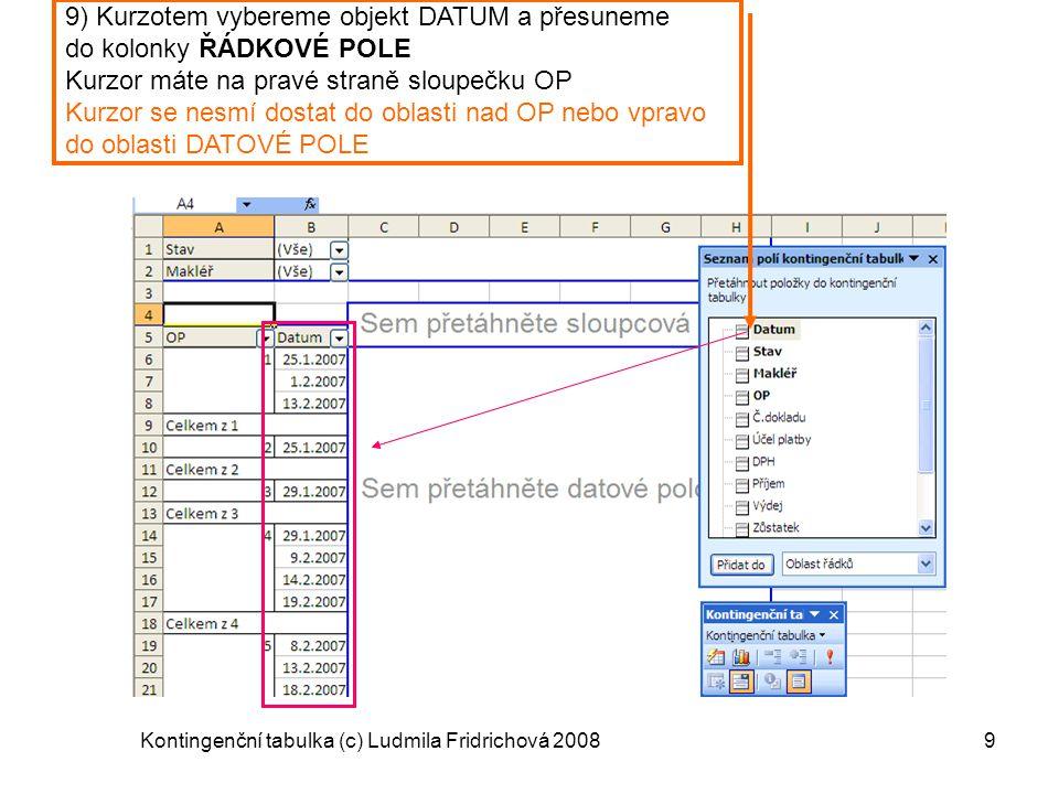 Kontingenční tabulka (c) Ludmila Fridrichová 20089 9) Kurzotem vybereme objekt DATUM a přesuneme do kolonky ŘÁDKOVÉ POLE Kurzor máte na pravé straně s