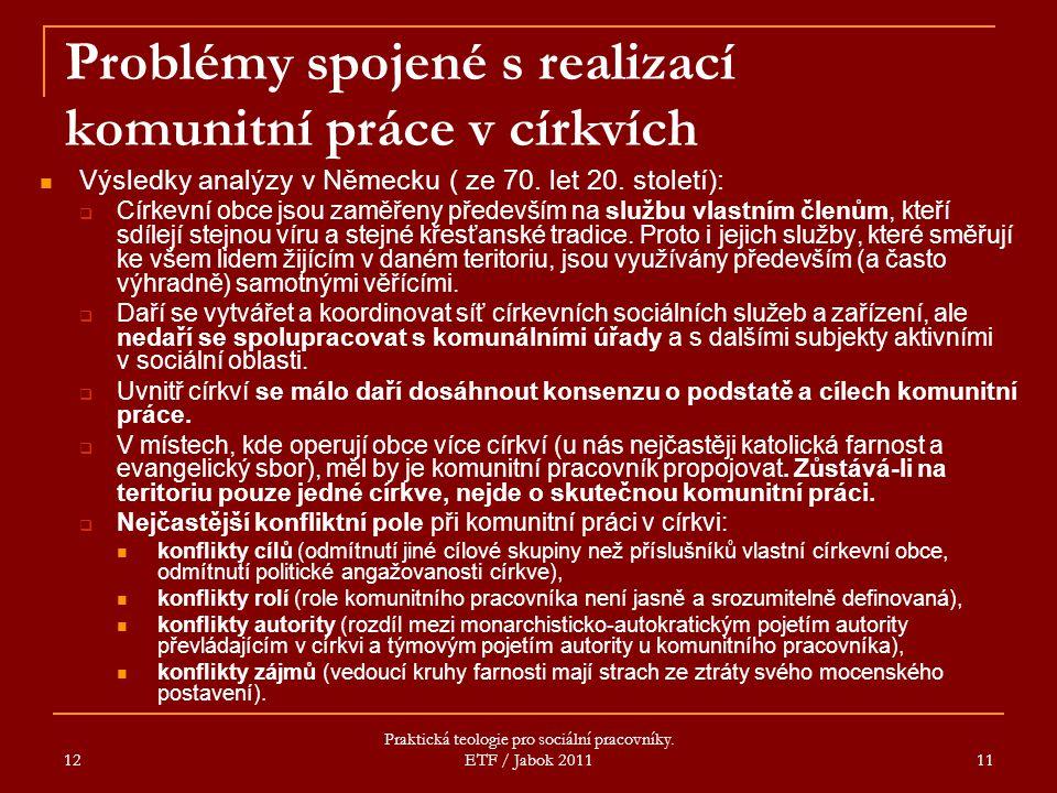12 Praktická teologie pro sociální pracovníky. ETF / Jabok 2011 11 Problémy spojené s realizací komunitní práce v církvích Výsledky analýzy v Německu