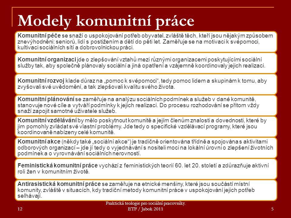 12 Praktická teologie pro sociální pracovníky. ETF / Jabok 2011 5 Modely komunitní práce Komunitní péče se snaží o uspokojování potřeb obyvatel, zvláš