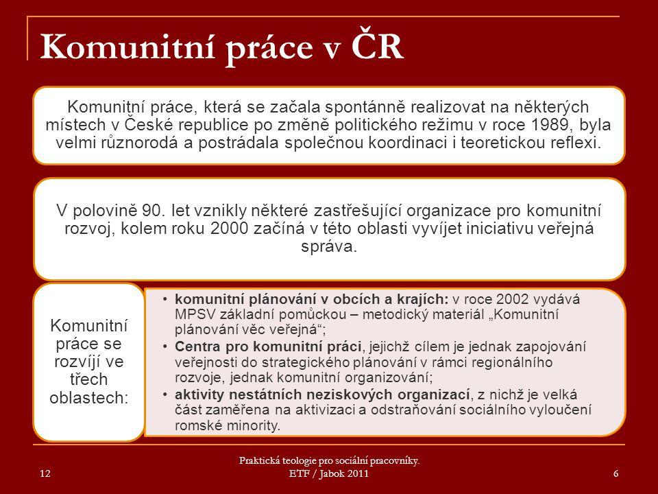 12 Praktická teologie pro sociální pracovníky. ETF / Jabok 2011 6 Komunitní práce v ČR Komunitní práce, která se začala spontánně realizovat na někter