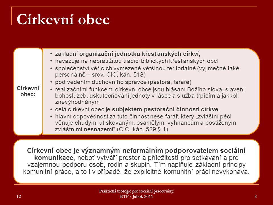12 Praktická teologie pro sociální pracovníky. ETF / Jabok 2011 8 Církevní obec základní organizační jednotku křesťanských církví, navazuje na nepřetr