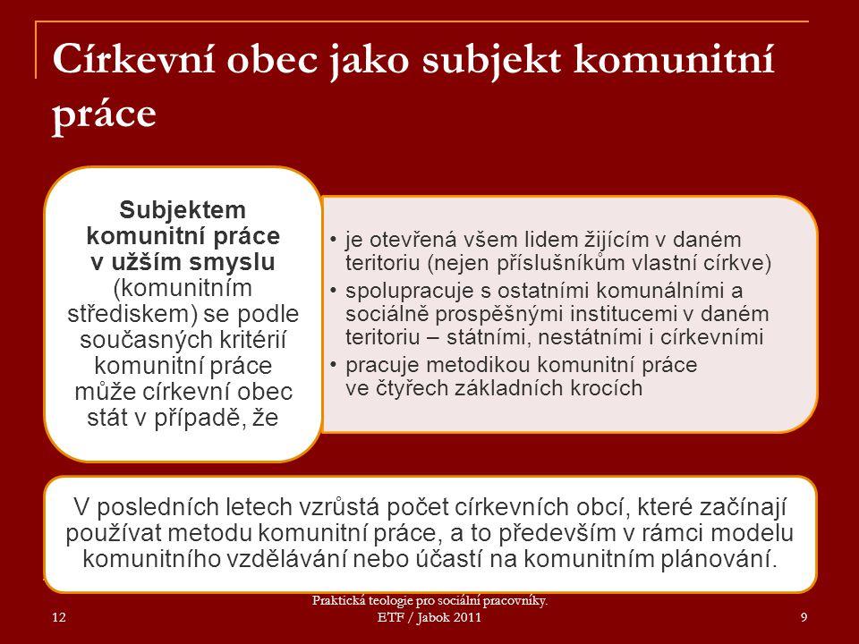 12 Praktická teologie pro sociální pracovníky. ETF / Jabok 2011 9 Církevní obec jako subjekt komunitní práce je otevřená všem lidem žijícím v daném te