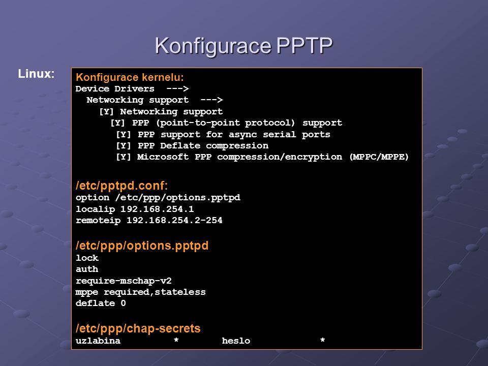 Konfigurace PPTP Konfigurace kernelu: Device Drivers ---> Networking support ---> [Y] Networking support [Y] PPP (point-to-point protocol) support [Y]
