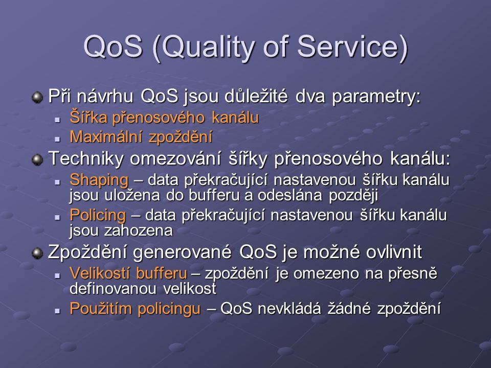 QoS (Quality of Service) Při návrhu QoS jsou důležité dva parametry: Šířka přenosového kanálu Šířka přenosového kanálu Maximální zpoždění Maximální zp