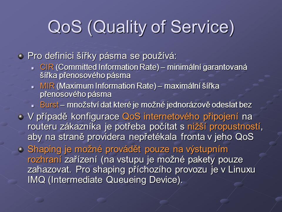 QoS (Quality of Service) Pro definici šířky pásma se používá: CIR (Committed Information Rate) – minimální garantovaná šířka přenosového pásma CIR (Co