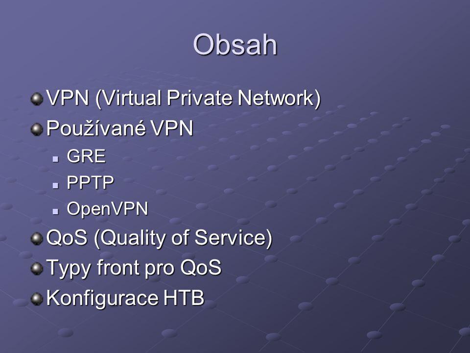 Obsah VPN (Virtual Private Network) Používané VPN GRE GRE PPTP PPTP OpenVPN OpenVPN QoS (Quality of Service) Typy front pro QoS Konfigurace HTB