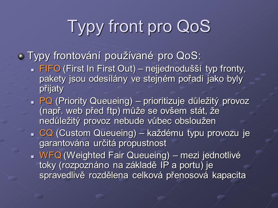 Typy front pro QoS Typy frontování používané pro QoS: FIFO (First In First Out) – nejjednodušší typ fronty, pakety jsou odesílány ve stejném pořadí ja