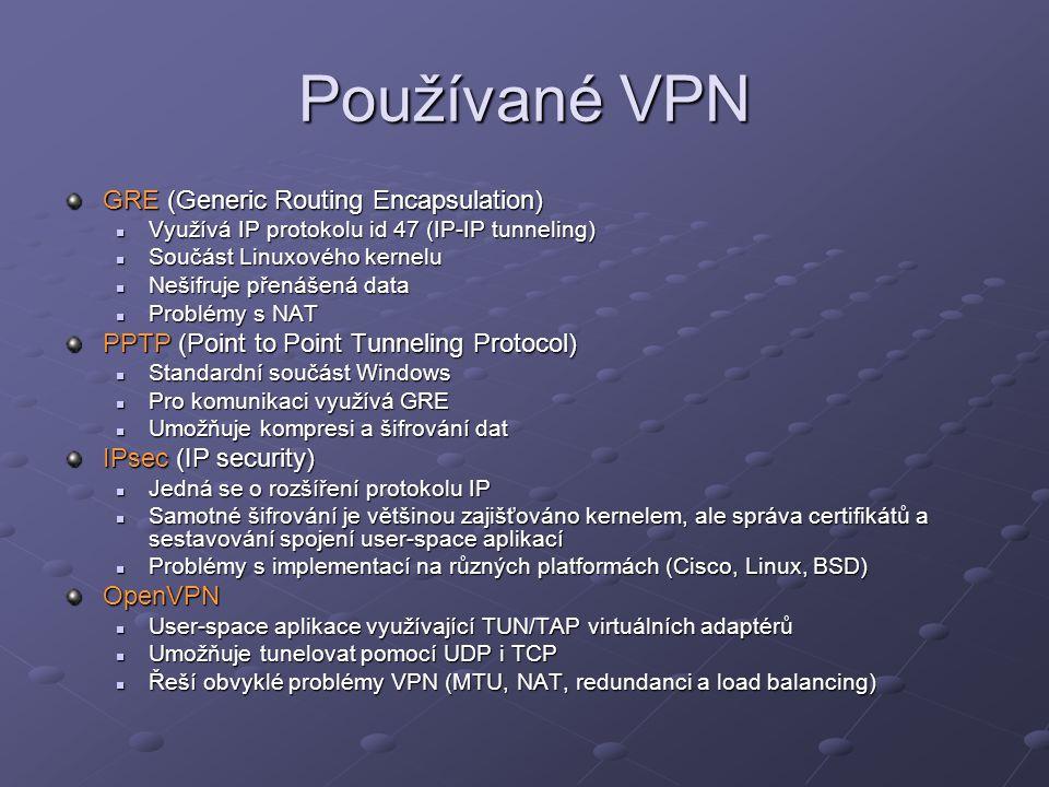 Používané VPN GRE (Generic Routing Encapsulation) Využívá IP protokolu id 47 (IP-IP tunneling) Využívá IP protokolu id 47 (IP-IP tunneling) Součást Li