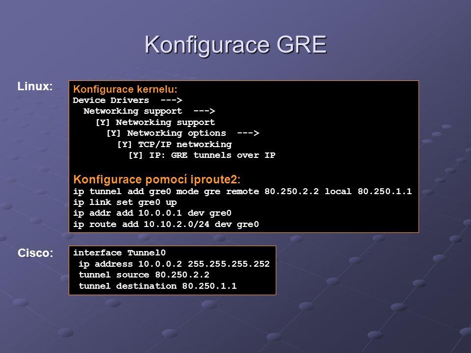 Konfigurace GRE Konfigurace kernelu: Device Drivers ---> Networking support ---> [Y] Networking support [Y] Networking options ---> [Y] TCP/IP network
