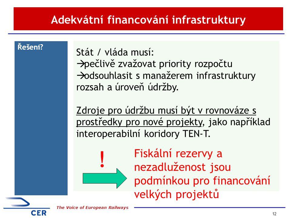 12 The Voice of European Railways Adekvátní financování infrastruktury Řešení.