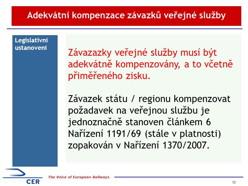 13 The Voice of European Railways Adekvátní kompenzace závazků veřejné služby Legislativní ustanovení Závazazky veřejné služby musí být adekvátně kompenzovány, a to včetně přiměřeného zisku.