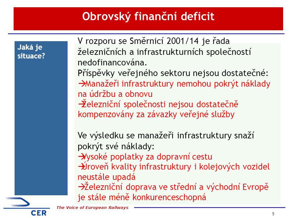5 The Voice of European Railways Obrovský finanční deficit Jaká je situace.