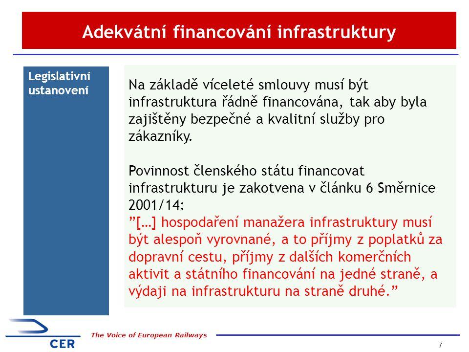 7 The Voice of European Railways Adekvátní financování infrastruktury Legislativní ustanovení Na základě víceleté smlouvy musí být infrastruktura řádně financována, tak aby byla zajištěny bezpečné a kvalitní služby pro zákazníky.