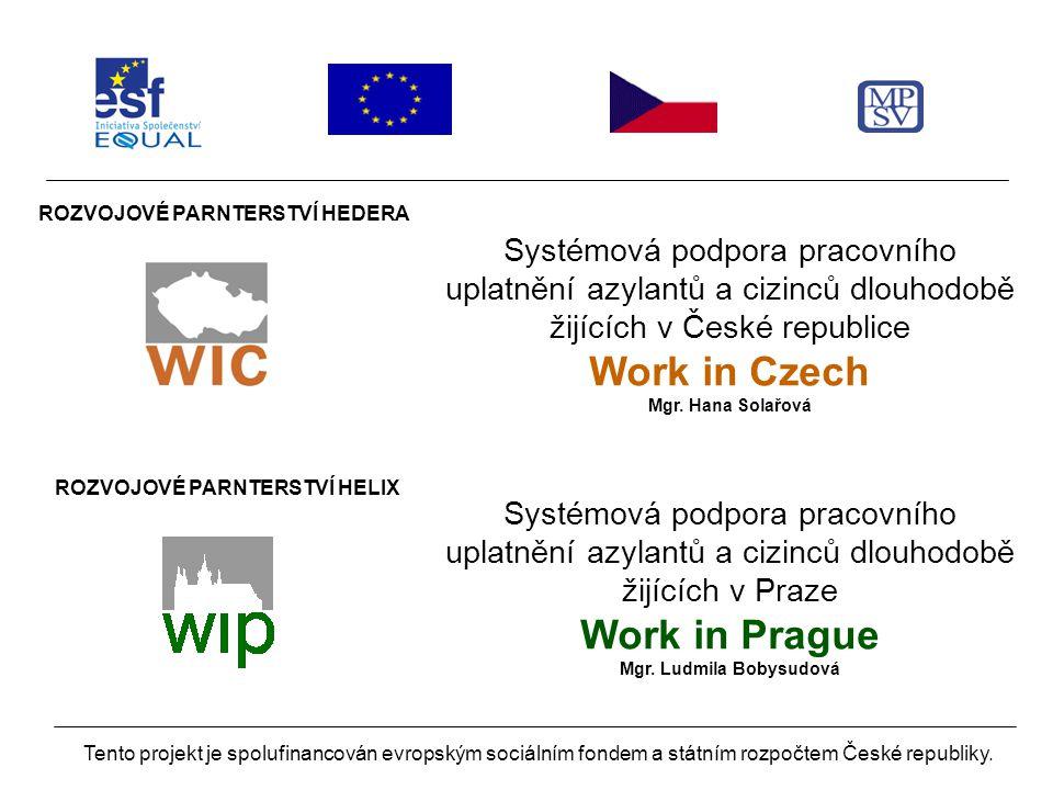 ROZVOJOVÉ PARNTERSTVÍ HEDERA Systémová podpora pracovního uplatnění azylantů a cizinců dlouhodobě žijících v České republice Work in Czech Mgr.