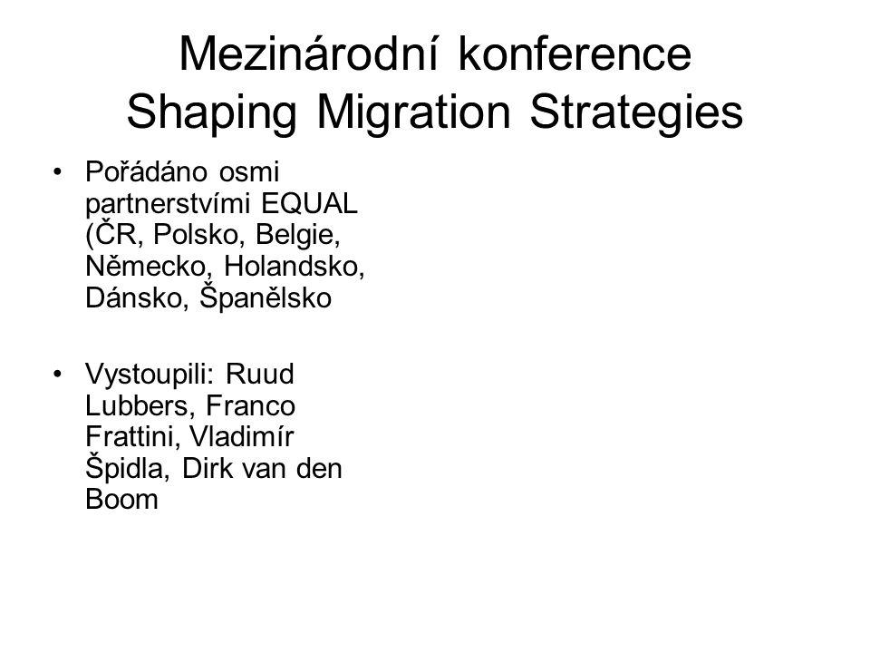 Mezinárodní konference Shaping Migration Strategies Pořádáno osmi partnerstvími EQUAL (ČR, Polsko, Belgie, Německo, Holandsko, Dánsko, Španělsko Vystoupili: Ruud Lubbers, Franco Frattini, Vladimír Špidla, Dirk van den Boom