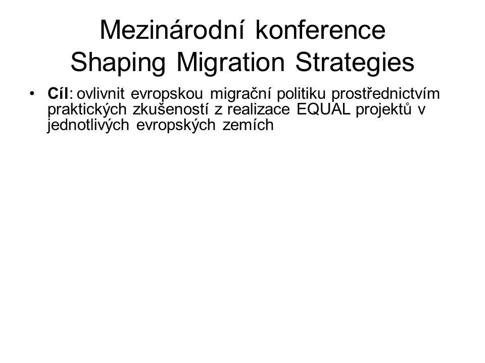 Mezinárodní konference Shaping Migration Strategies Cíl: ovlivnit evropskou migrační politiku prostřednictvím praktických zkušeností z realizace EQUAL projektů v jednotlivých evropských zemích