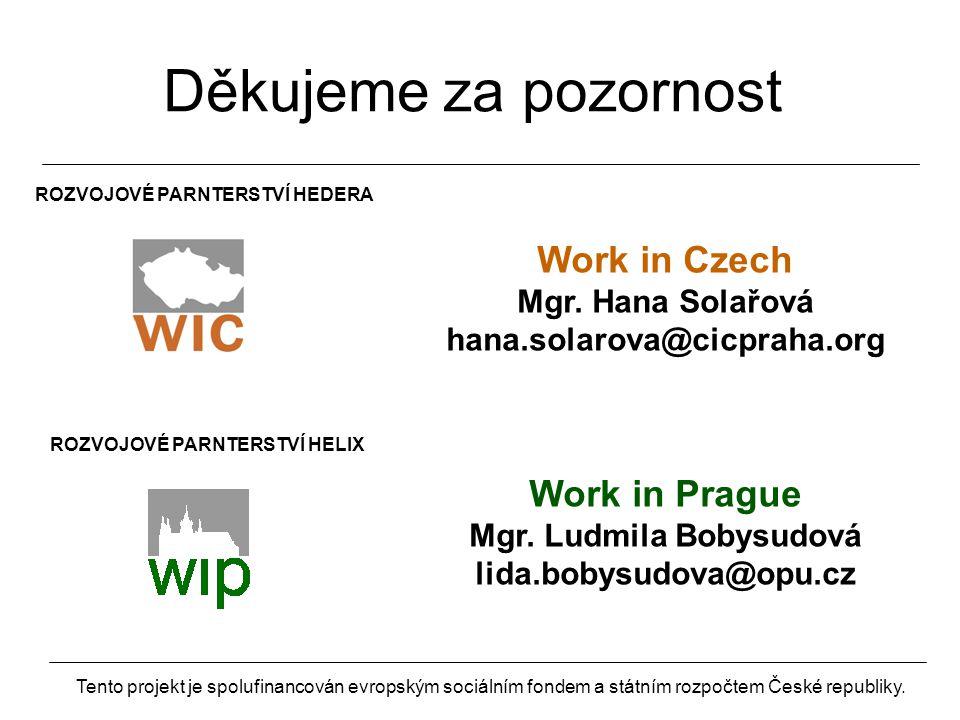 ROZVOJOVÉ PARNTERSTVÍ HEDERA Work in Czech Mgr.