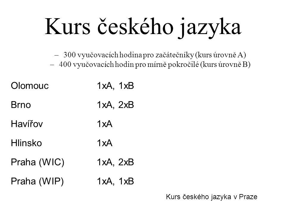 Kurs českého jazyka –300 vyučovacích hodina pro začátečníky (kurs úrovně A) –400 vyučovacích hodin pro mírně pokročilé (kurs úrovně B) Olomouc1xA, 1xB Brno1xA, 2xB Havířov1xA Hlinsko1xA Praha (WIC)1xA, 2xB Praha (WIP)1xA, 1xB Kurs českého jazyka v Praze