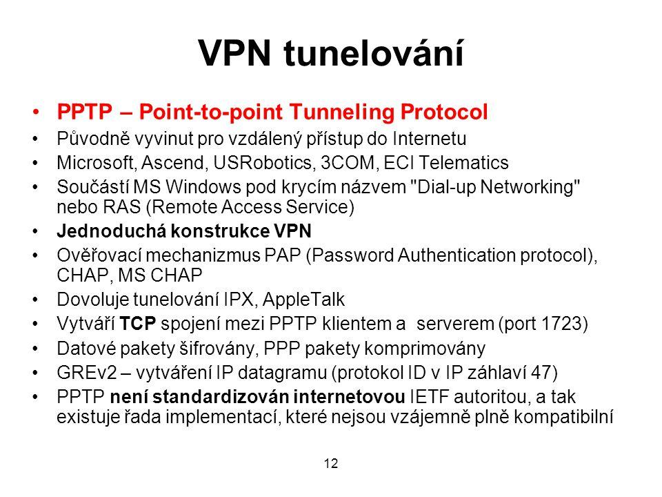 VPN tunelování PPTP – Point-to-point Tunneling Protocol Původně vyvinut pro vzdálený přístup do Internetu Microsoft, Ascend, USRobotics, 3COM, ECI Tel